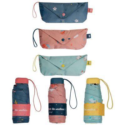 Paraguas plegable manual Weather + bolsa Mr. Wonderfun surtido 52cm la casita de dumbo